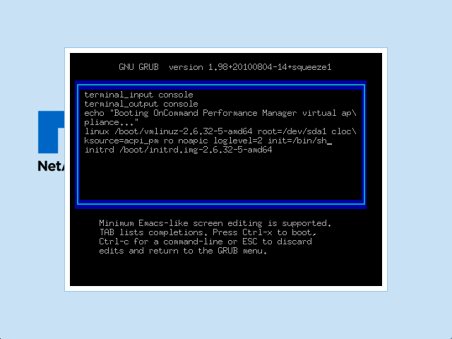 Boot arguments screen for a NetApp VA