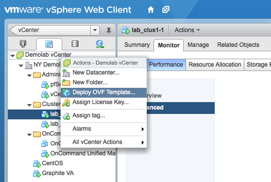 """Use the contextual menu to find the """"Deploy OVF Template"""" option."""