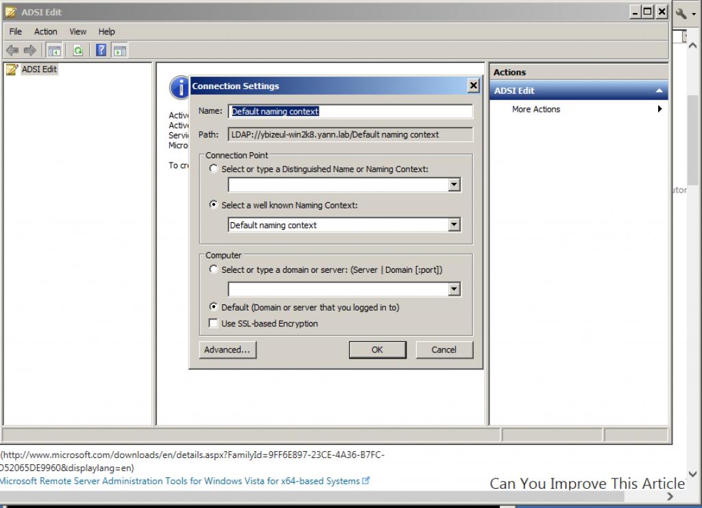 ADSI Edit Window